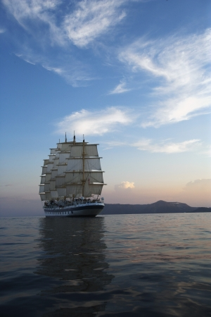 tyrrhenian: Clipper ship in the sea, Tyrrhenian Sea, Lipari Islands, Province of Messina, Sicily, Italy