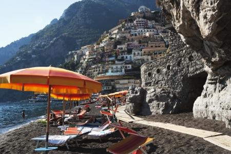 tyrrhenian: Tourists on the beach, Amalfi, Province Of Salerno, Gulf Of Salerno, Tyrrhenian Sea, Campania, Italy