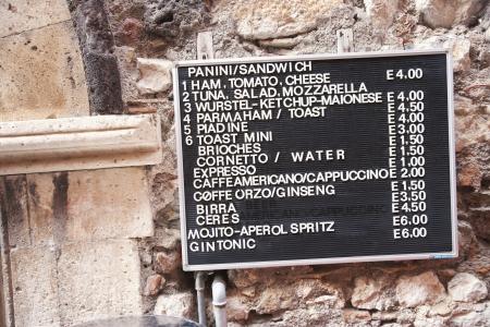 menu: Menu of a restaurant, Taormina, Province of Messina, Sicily, Italy
