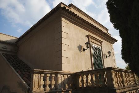 Balcony of a building, Taormina, Province of Messina, Sicily, Italy Archivio Fotografico