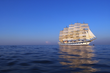 lipari: Clipper ship in the sea, Tyrrhenian Sea, Lipari Islands, Province of Messina, Sicily, Italy