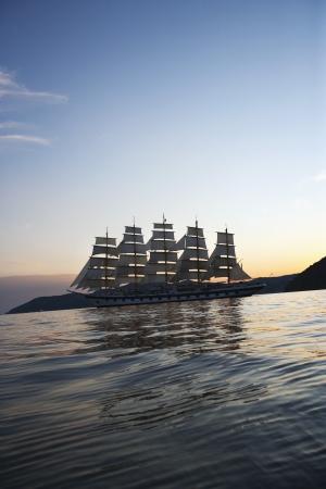 lipari: Clipper ship in the sea, Tyrrhenian Sea, Lipari Islands, Province of Messina, Sicily, Italy