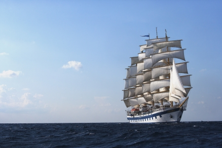 Clipper ship in the sea, Tyrrhenian Sea, Sicily, Italy Editorial