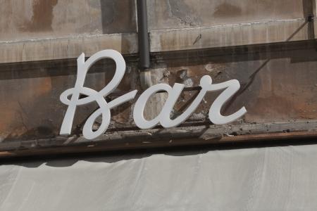lazio: Close-up of a bar sign, Rome, Lazio, Italy