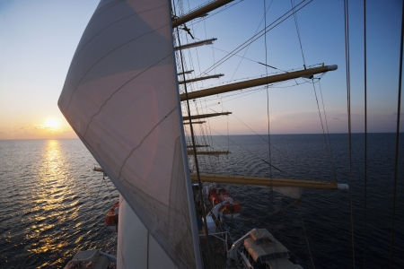tyrrhenian: Clipper ship in the sea, Tyrrhenian Sea, Sicily, Italy Editorial