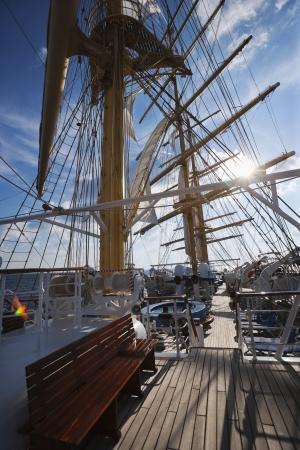 tyrrhenian: Clipper ship in the sea, Tyrrhenian Sea, Sicily, Italy Stock Photo