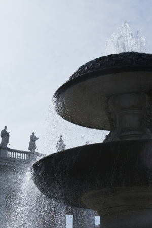 Low angle view of a fountain at St. Peters Square, Vatican City Stok Fotoğraf