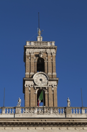 Low angle view of a clock tower, Rome, Lazio, Italy Stok Fotoğraf