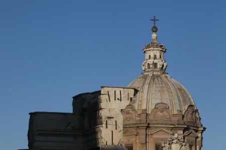 Dome of a church, roman Forum, Rome, Lazio, Italy