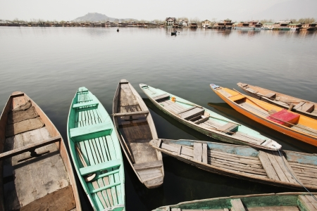 Shikaras in a lake, Dal Lake, Srinagar, Jammu And Kashmir, India  Stock Photo
