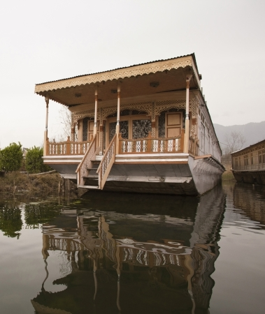 kashmir: Houseboat in a lake, Dal Lake, Srinagar, Jammu And Kashmir, India