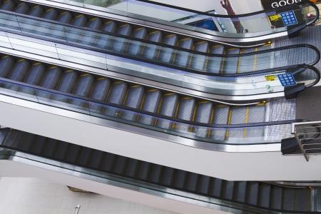 Escalators in a shopping mall, Amritsar, Punjab, India Banco de Imagens
