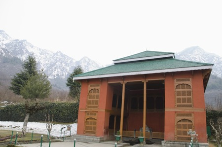Pavilion in a garden, Chashme Shahi, Srinagar, Jammu And Kashmir, India  Stock Photo