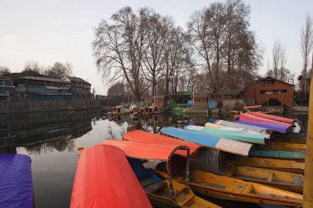 Shikaras in a lake, Dal Lake, Srinagar, Jammu And Kashmir, India  Editorial