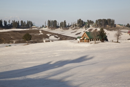 Snow covered landscape, Jammu And Kashmir, India  Stock Photo