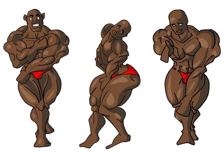 Illustrative representation of body building embarrassment Illustration