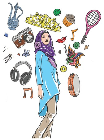 one person only: Illustrative representation of a Muslim girls hobbies