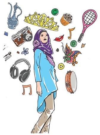 Illustrative representation of a Muslim girl's hobbies