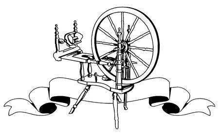 Illustrative representation of a cotton weaving spinning wheel Vettoriali