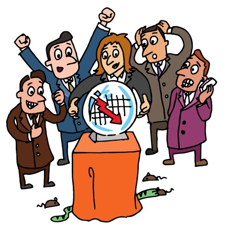 Illustrative representation of stock brokers Illustration