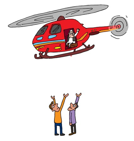 Illustrative representation of an Indian politician helicopter visit Çizim