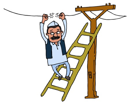 Illustrative representation of Kejriwal fixing electricity