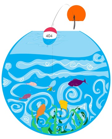 Illustrative representation of fishes swimming in a fish bowl Imagens - 25094169