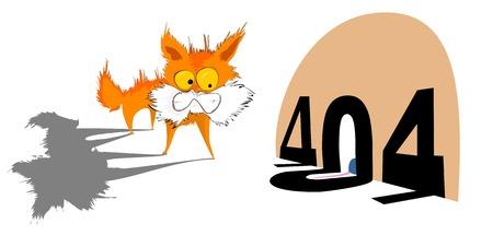error message: Illustrative representation of a kitten with 404 error message Illustration