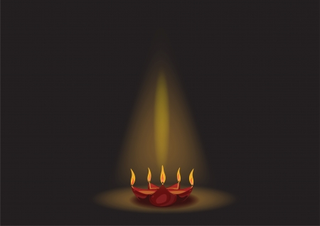 Glowing Diwali oil lamp isolated on black background Vector