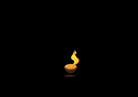 Diwali oil lamp glowing isolated on black background Vector