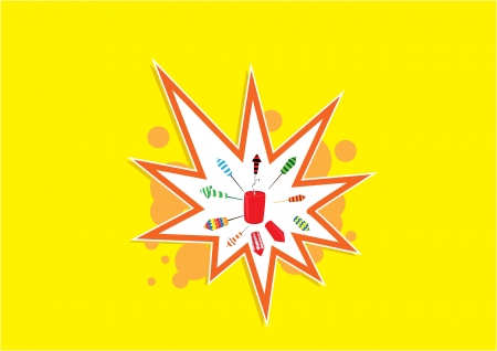 display: Diwali firework display isolated on yellow background