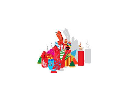Diwali firecrackers isolated on white background Illustration