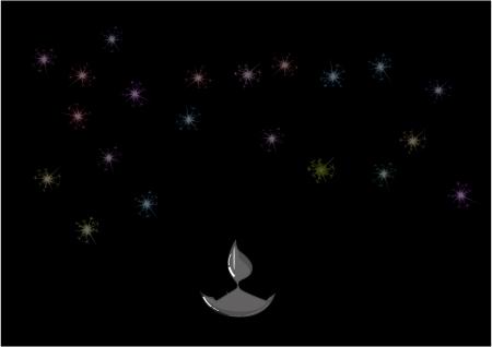 lampa naftowa: Diwali lampy naftowej z ogni samodzielnie na czarnym tle