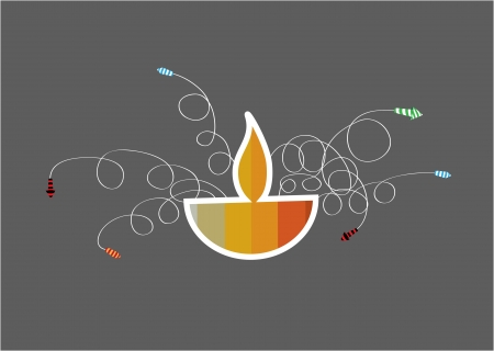 Diwali oil lamp with firework isolated on gray background