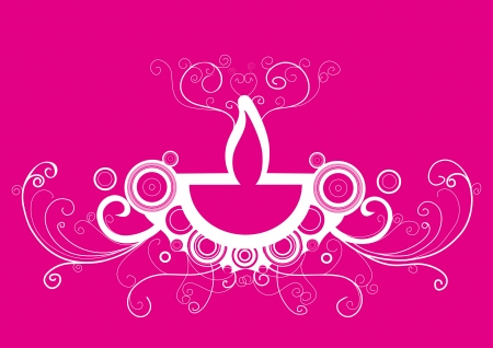 Diwali oil lamp isolated on pink background Illustration