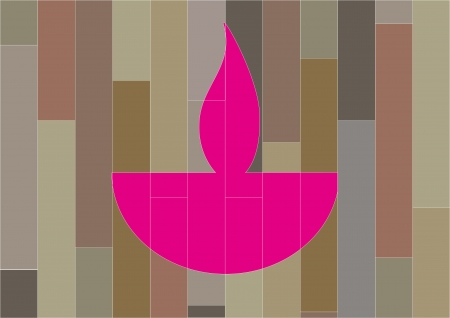 Diwali oil lamp isolated on patterned background