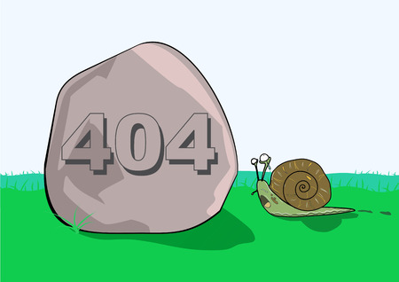 error message: Illustrative representation of 404 error message on rock in front of a snail