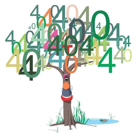 error message: Illustrative representation of 404 error message on a tree