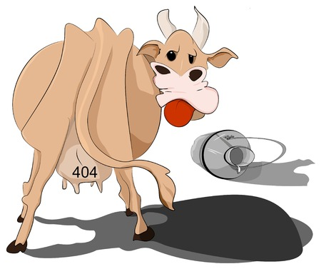 Illustrative representation of a cow spilled the milk