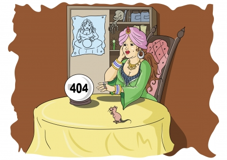 error message: Fortune teller looking at crystal ball with 404 error message