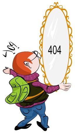 one person only: Illustrative representation of a man looking at 404 mirror on the wall Illustration