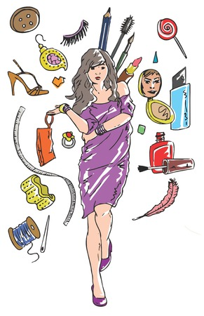 Illustrative representation of all that a girl needs Stock Vector - 25094260