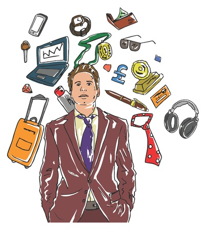 thinks: Illustrative representation of a business man thinks