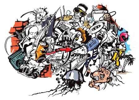 Illustrative representation of office graffiti Illusztráció