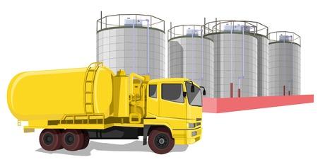 石油貯蔵タンクの前に燃料トラックの例示表現  イラスト・ベクター素材
