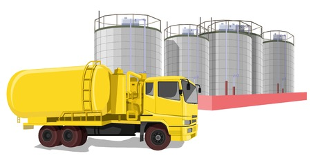 Illustrative representation of fuel truck in front of oil storage tanks Illustration