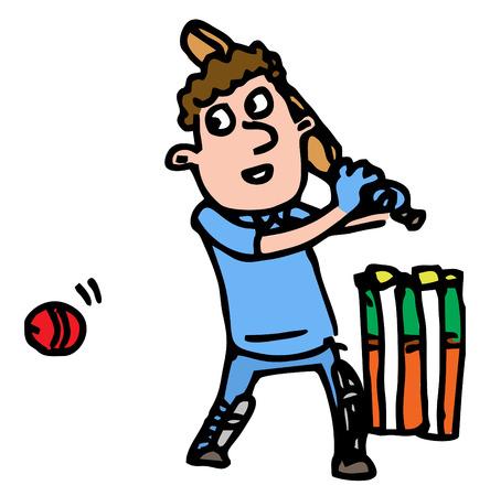 batting: Illustrative representation of a cricketer batting