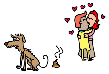 Illustrative representation of Dog Poo and Love Birds Illustration