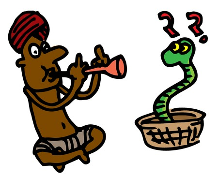 one person only: Illustrative representation of a snake charmer