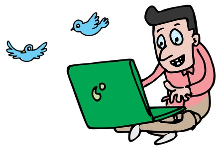 Illustrative representation of a man twitting on laptop